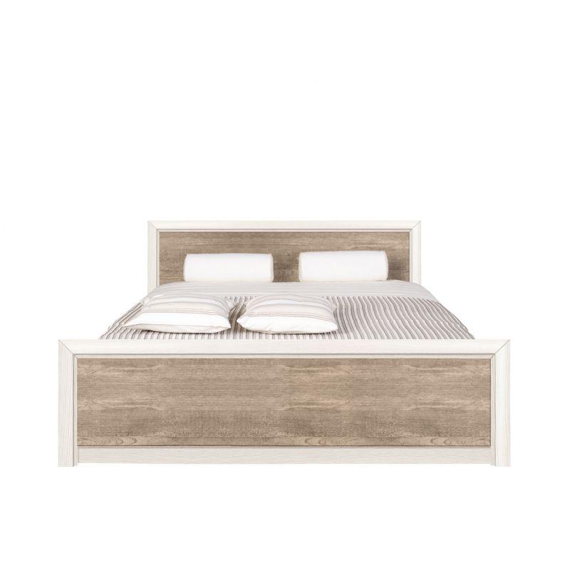 Кровать с металлическим основанием КОЕН LOZ160х200 Ясень снежный/Сосна натуральная