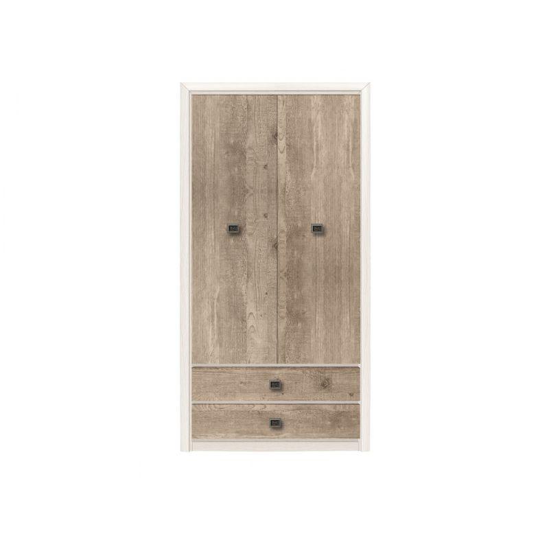 Шкаф бельевой распашной для спальни Коен 2D2S Шкаф Ясень снежный/Сосна натуральная