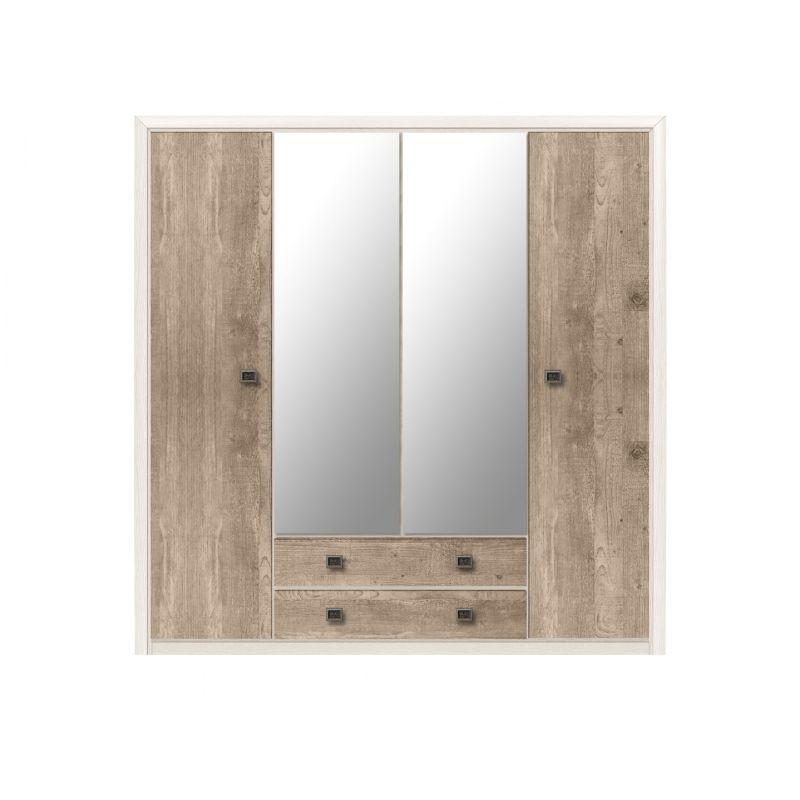 Шкаф распашной для спальни и прихожей Коен SZF4D2S Ясень снежный/Сосна натуральная