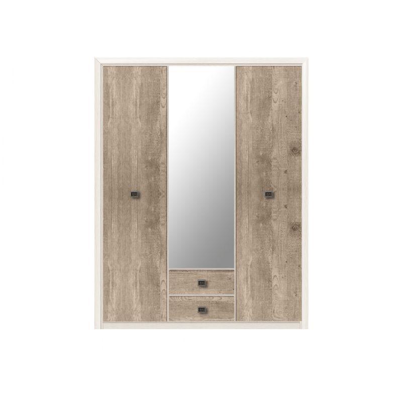 Шкаф трехдверный распашной для спальни и прихожей Коен SZF3D2S Ясень снежный/Сосна натуральная
