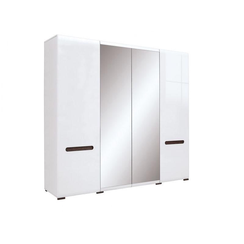 Шкаф распашной для спальни и гостиной AZTECA (Ацтека) 2D2L Белый глянец