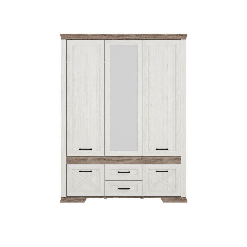 Шкаф распашной для спальни и гостиной MARSELLE (Марсель) SZF5D2S Ясень снежный/Дуб