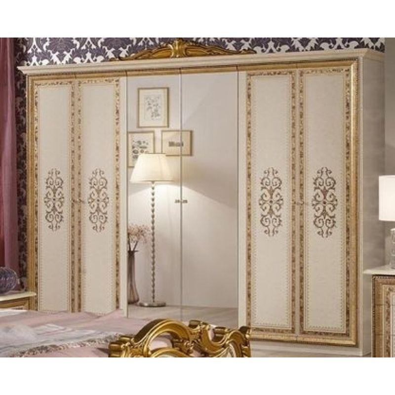 Шкаф распашной шестидверный «Анита» Беж с золотом для спальни