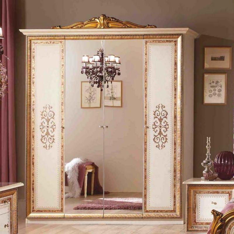 Шкаф 4-х дверный распашной «Анита» Беж с золотом для спальни и гостиной