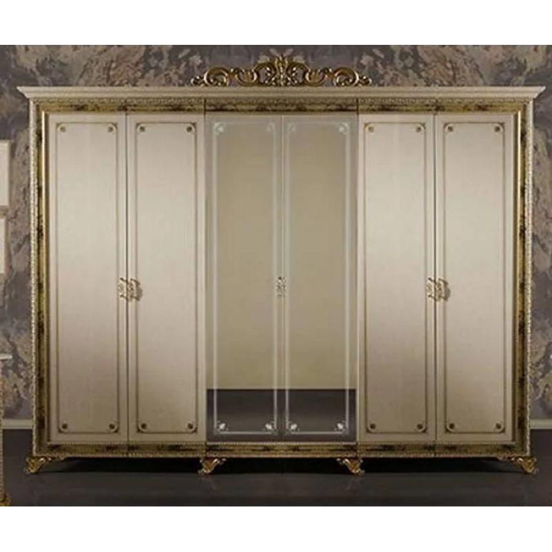 Шкаф 6-ти дверный распашной с зеркалами «Катя» бежевый для спальни