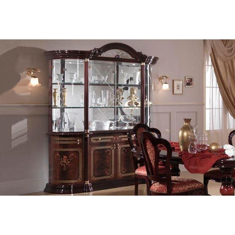 Витрина 4-х дверная для гостиной«Роза» махонь
