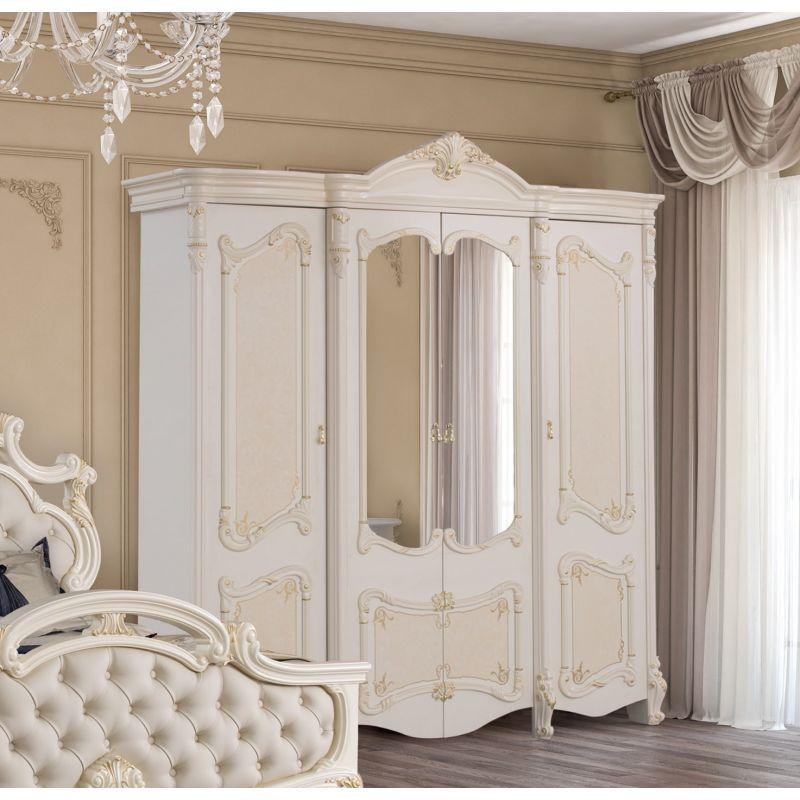 Шкаф 4-х дверный распашной с зеркалами «Рафаэлла» бежевый для спальни