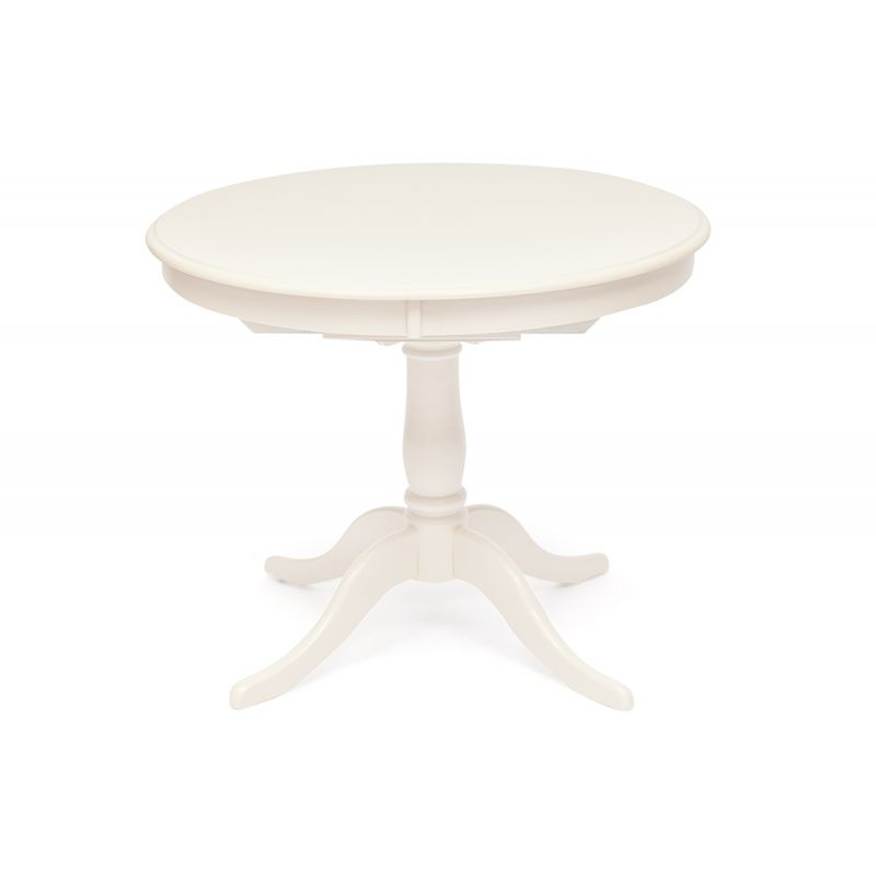 Стол деревянный обеденный круглый раскладной Siena SA-T4EX Молочный (белый)