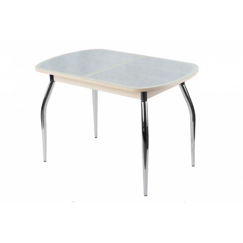 Стол обеденный стеклянный Сольди кожа дуб выбеленный(кожа Е24)