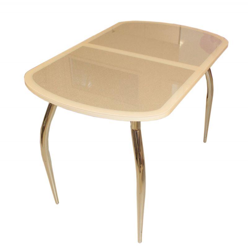 Стол кухонный обеденный стеклянный Сольди кожа мини дуб выбеленный(кожа Е24)