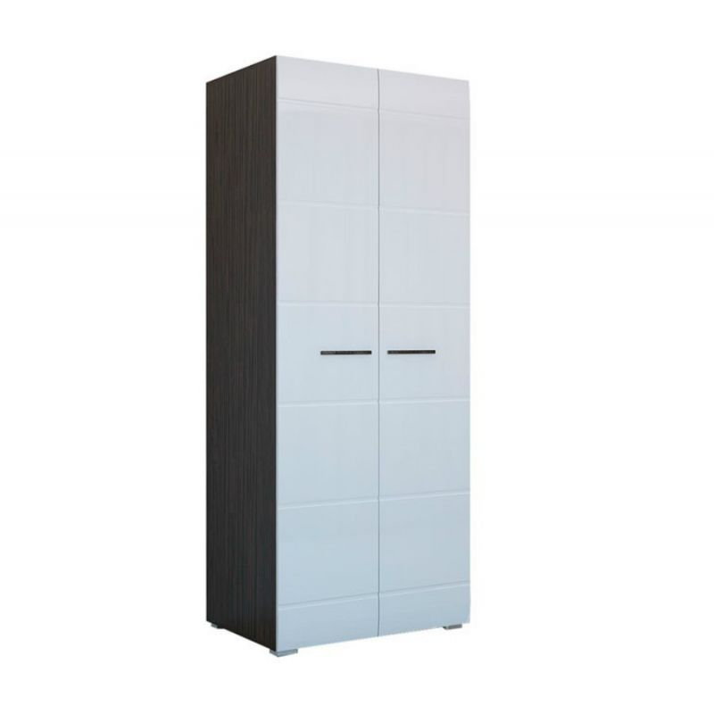 Шкаф двухдверный распашной Ненси Венге - Белый глянец для спальни и гостиной