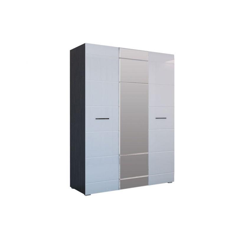 Шкаф распашной трехдверный для спальни и гостиной Ненси Венге - Белый глянец
