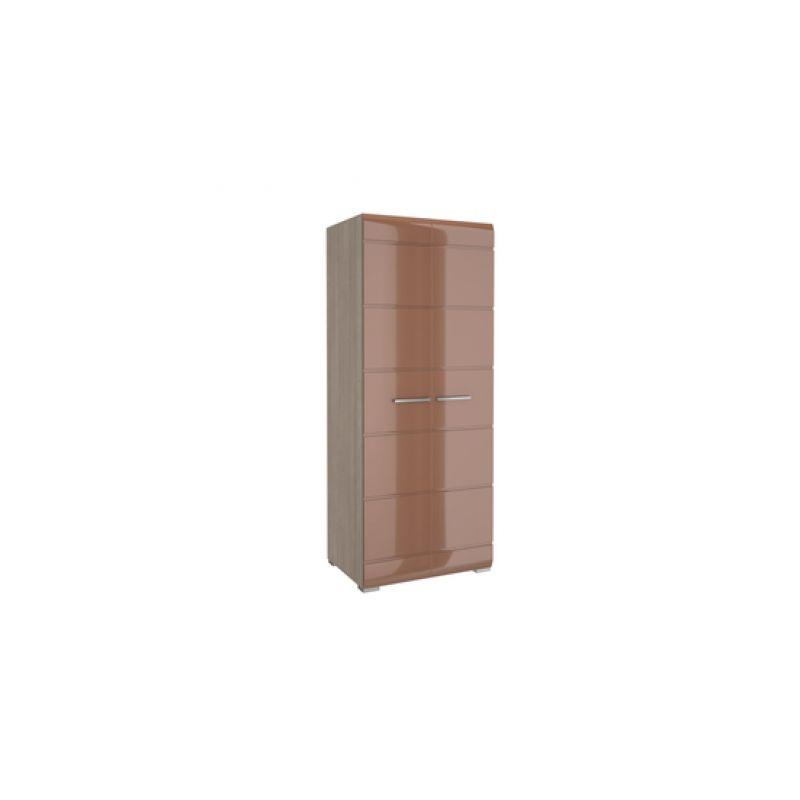Шкаф двухдверный распашной Ненси Ясень шимо светлый - Какао глянец для спальни и гостиной