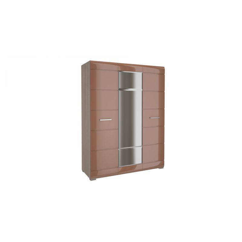 Шкаф трехдверный распашной Ненси Ясень шимо светлый - Какао глянец для спальни и гостиной