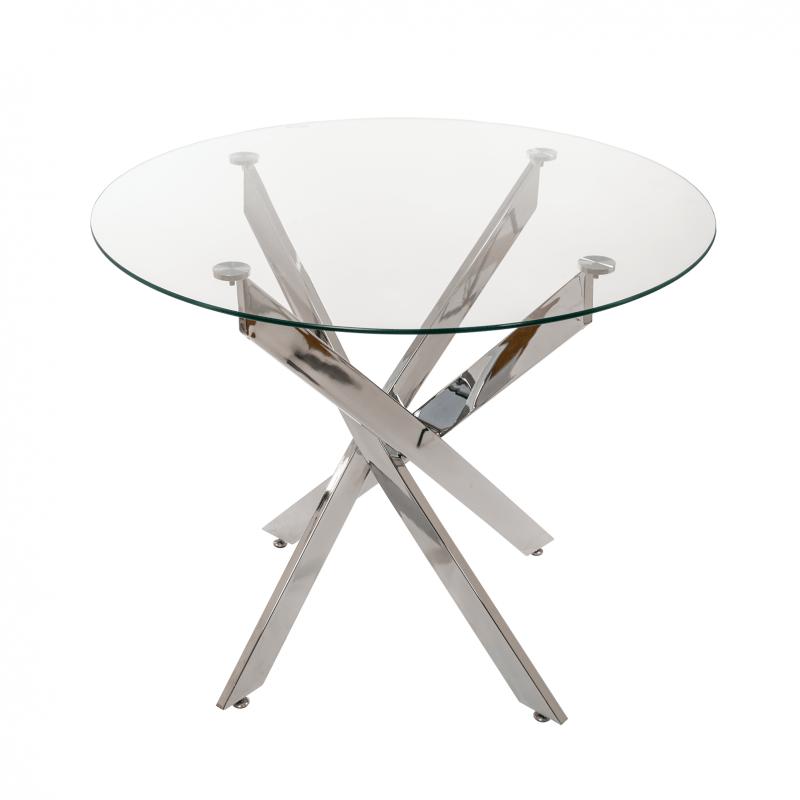 Стол для кухни обеденный дизайнерский со стеклом круглый «DT6601» 1000мм Прозрачный