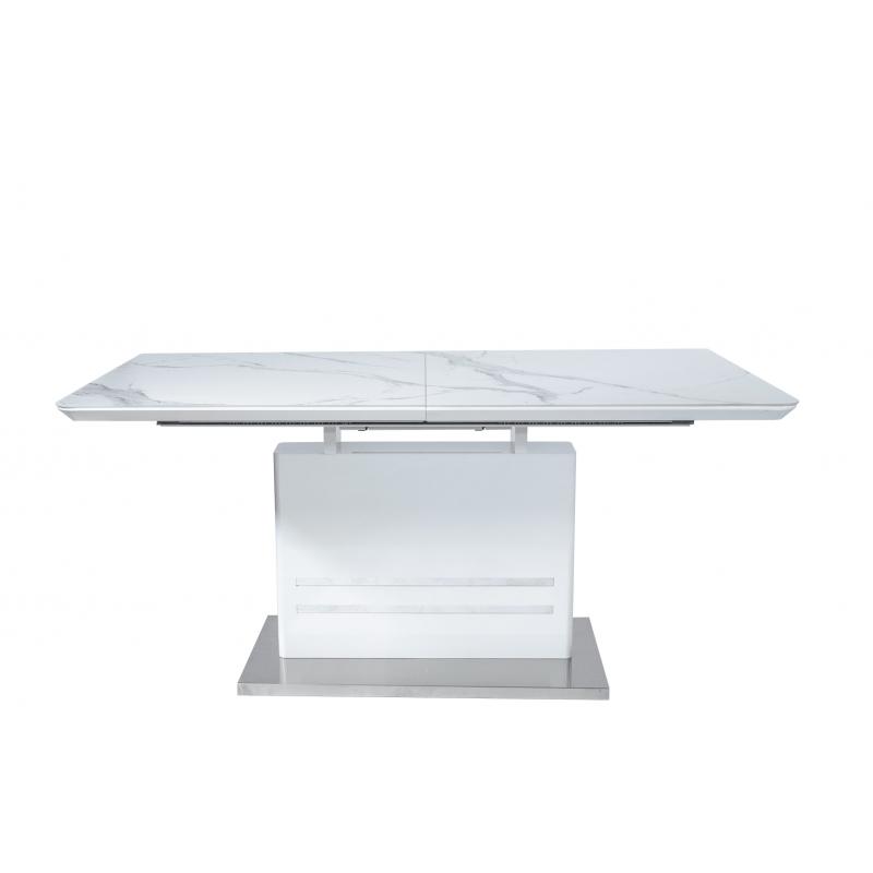 Стол обеденный стеклянный раскладной Мрамор D-1917 Белый