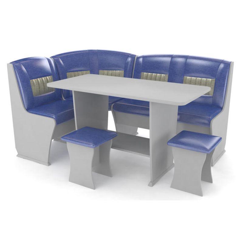 Кухонный уголок КОНСУЛ 3 серый/сине-серый перламутр