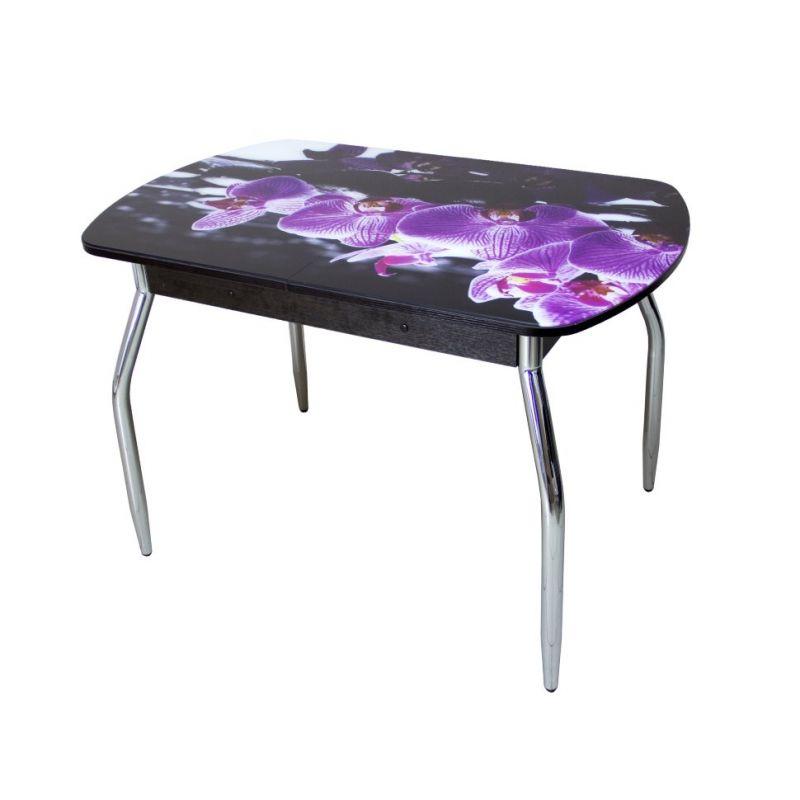Стол для кухни обеденный стеклянный Грация орхидея R-045 венге