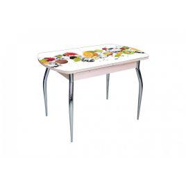 Стол для кухни обеденный стеклянный Грация Фрукты дуб выбеленный