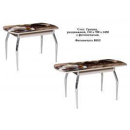 Стол для кухни обеденный стеклянный Грация Кофе дуб выбеленный