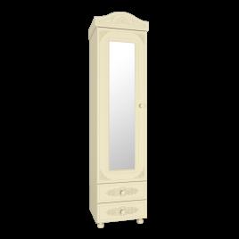 Шкаф - пенал с зеркалом для спальни «Ассоль Плюс» АС-1 Ваниль