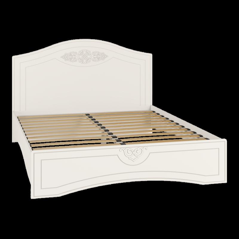 Кровать двуспальная с ламелями Ассоль АС-113К Белый