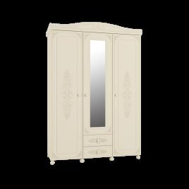 Шкаф трёхстворчатый распашной с зеркалом «Ассоль Плюс» АС-27 Ваниль для спальни