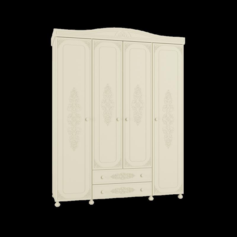 Шкаф четырехстворчатый распашной для спальни «Ассоль Плюс» АС-28 Ваниль