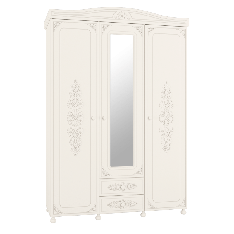 Шкаф трёхстворчатый распашной с зеркалом «Ассоль» АС-27 Белый для спальни и гостиной