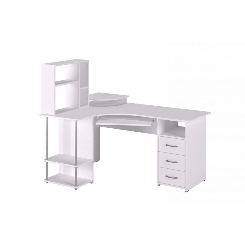 Стол компьютерный угловой с надставкой 237 Белый структурный