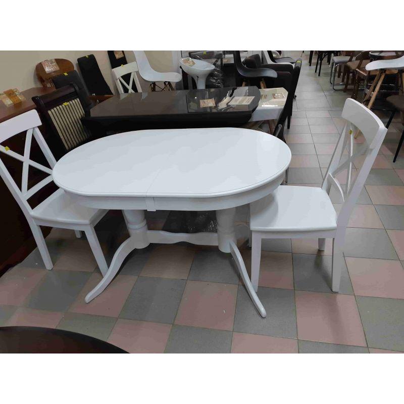 Стол для кухни обеденный деревянный овальный Оливия Белый