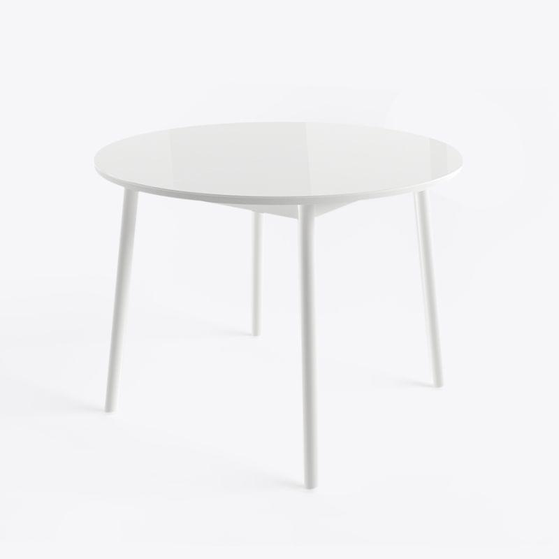 Стол кухонный обеденный стеклянный круглый раздвижной РАУНД Белый